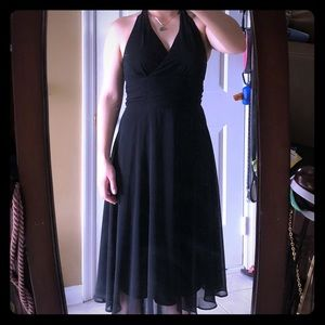 Black flowy halter formal dress, sz 8